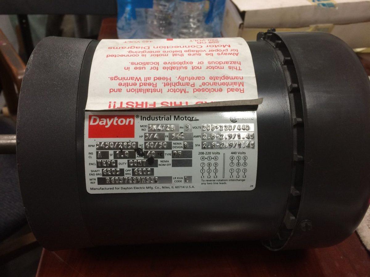 DAYTON 3N472B 3/4 HP ,3450/2850 HP